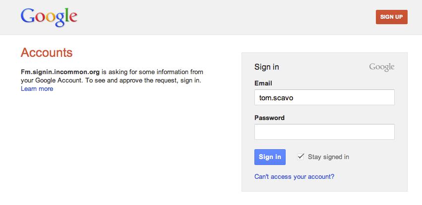Google: login page